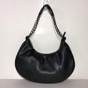 Bebe Black Leather Crescent Chain Hobo Handbag